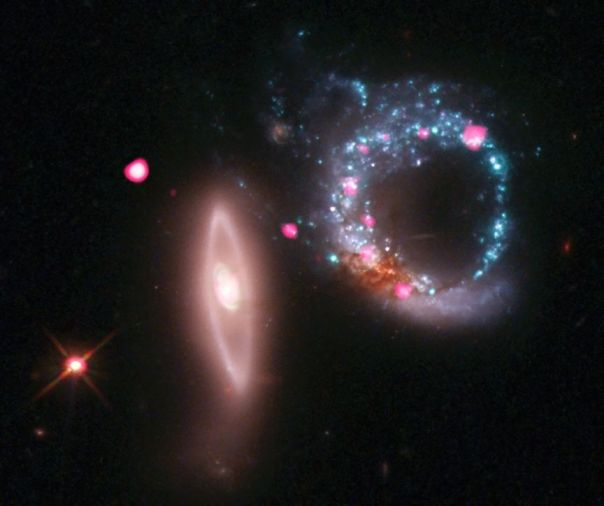 A galaxy about 430 million light years from Earth.